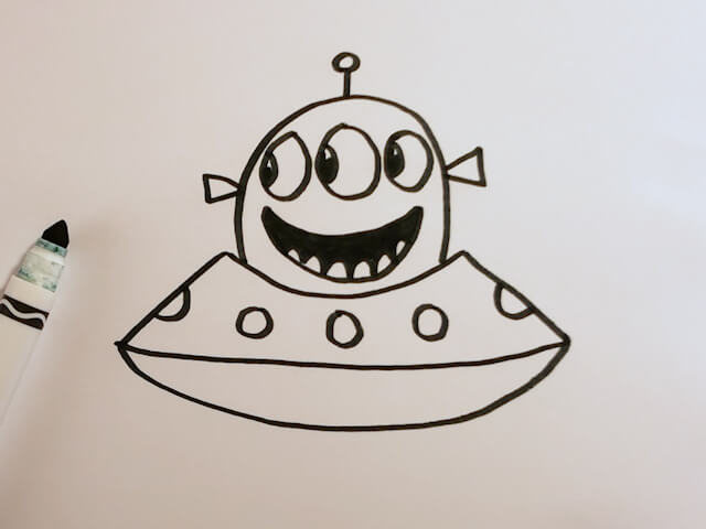 How to Draw a Cute Alien UFO