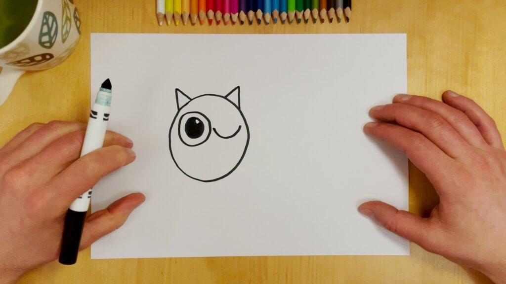 Cat-Bird Optical Illusion Step 3