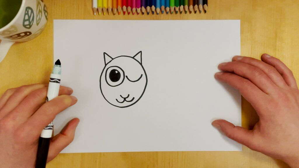 Cat-Bird Optical Illusion Step 4