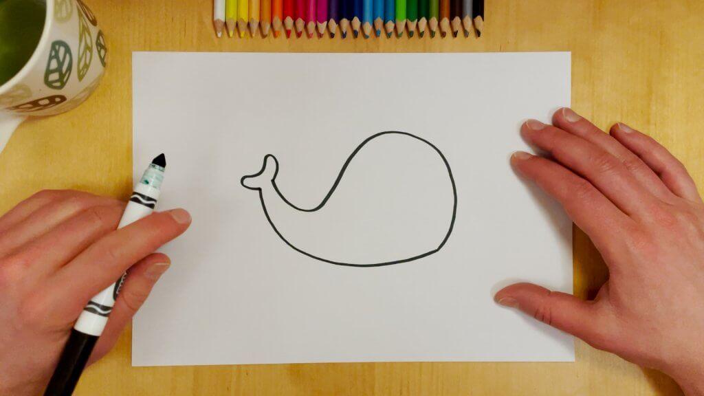 Elephant or Whale Optical Illusion Step 1
