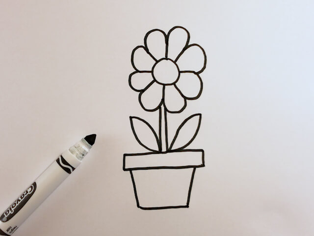 How to Draw a Cartoon Flower in a Pot