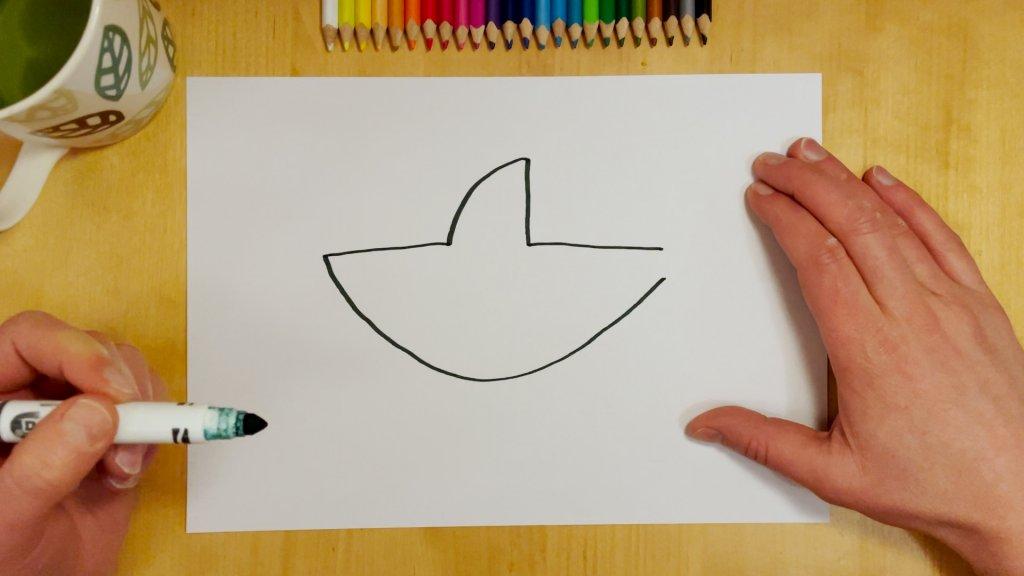 How to Draw a Cartoon Shark Step 2