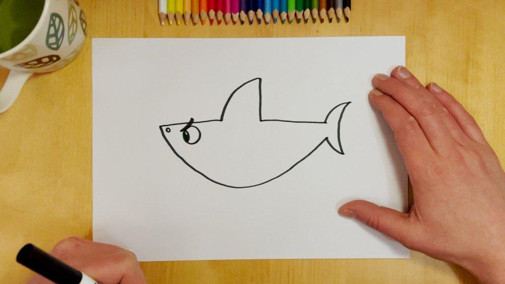 How to Draw a Cartoon Shark Step 4