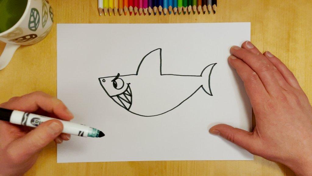 How to Draw a Cartoon Shark Step 5