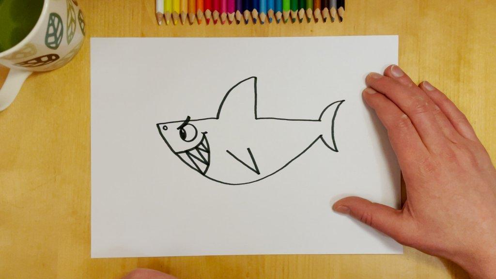 How to Draw a Cartoon Shark Step 6
