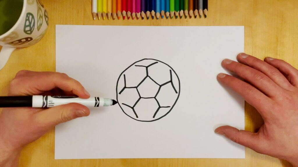 How to Draw a Soccer Ball or Football Step 4