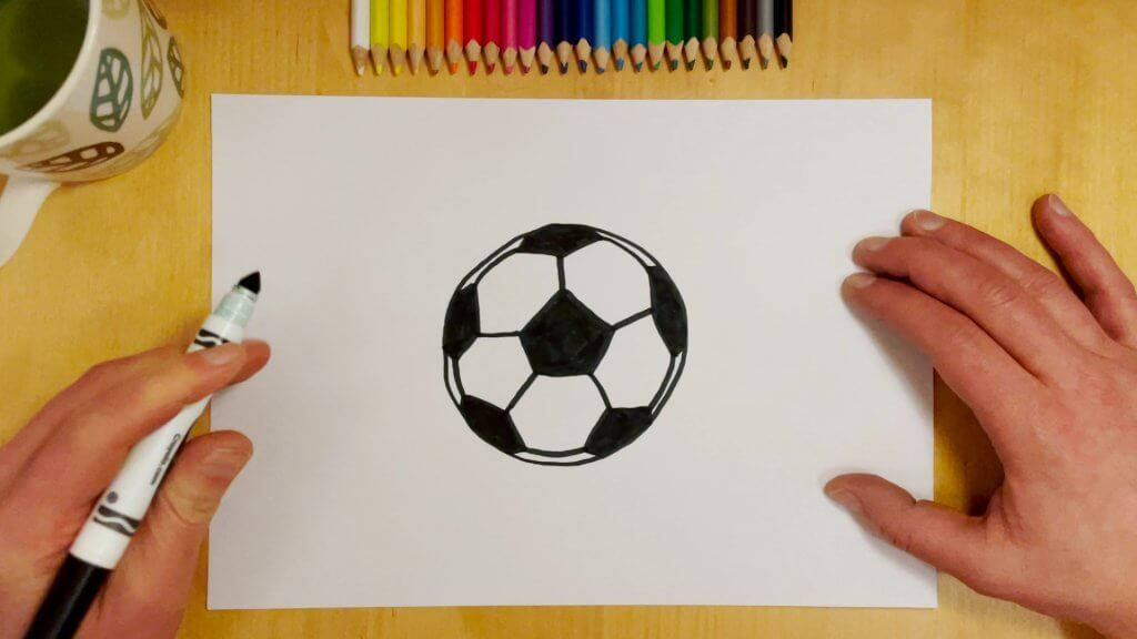 How to Draw a Soccer Ball or Football Step 7